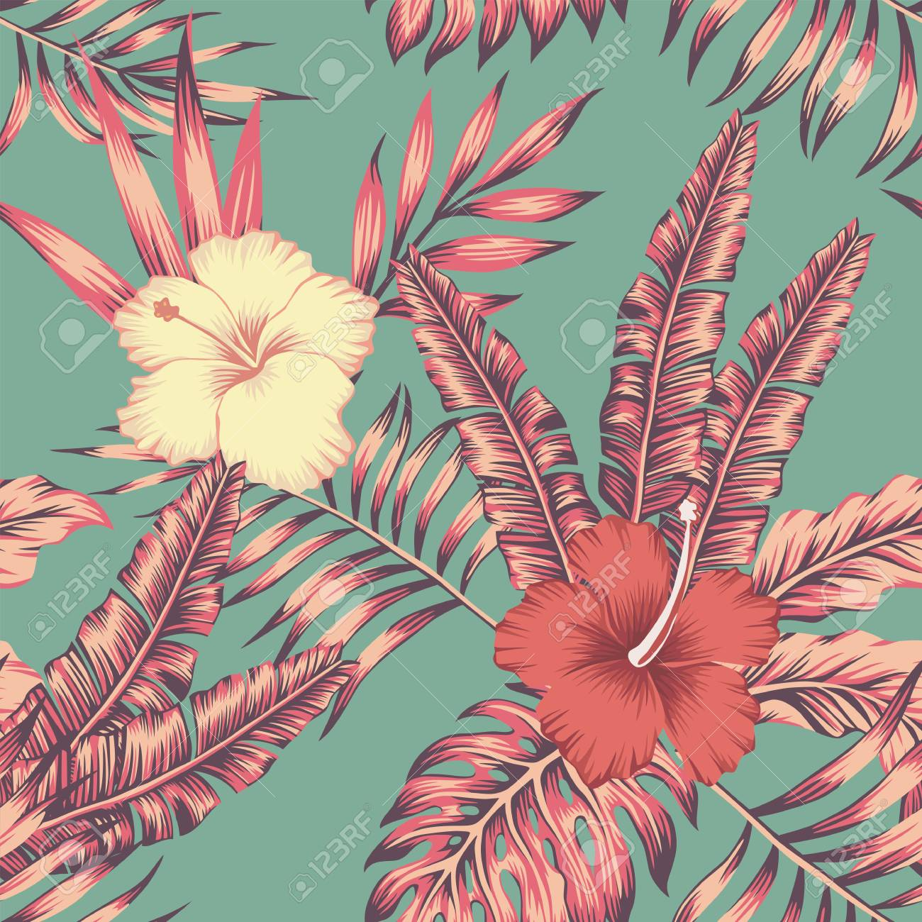 Hibiscus Flowers And Leaves Vintage Color Tropical Vector Seamless