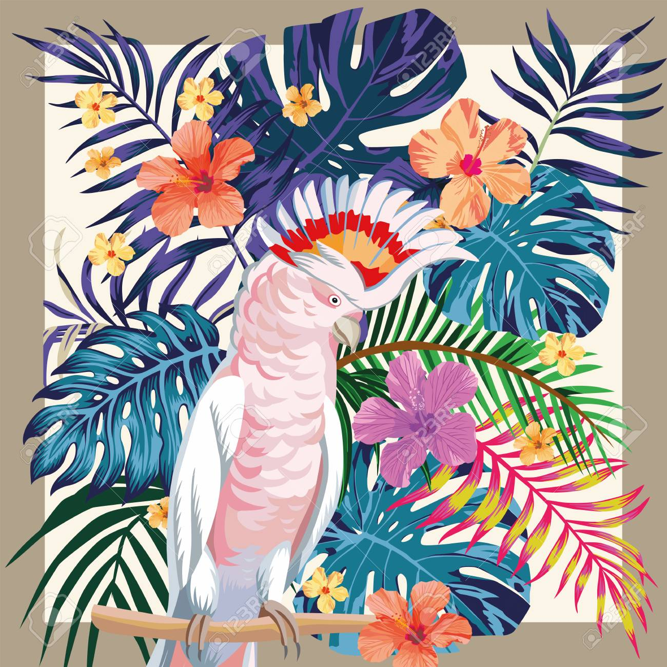Exotic bird parrot ara on the abstract color tropical palm leaves and hibiscus flowers pattern frame - 97072534