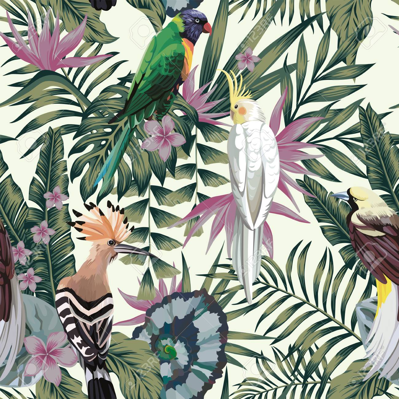 Tropical birds parrot, exotic jungle plants leaves flowers abstract pastel color seamless white background. - 98671809