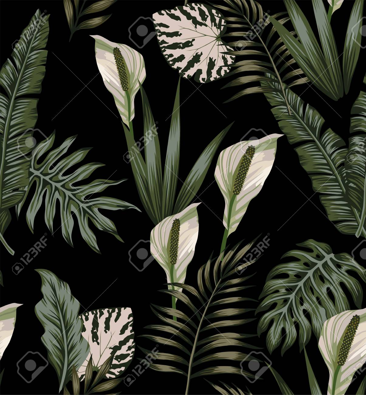 Night jungle tropical composition white flowers seamless pattern - 98585861