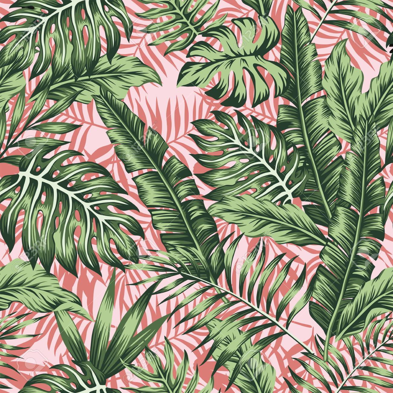Tropical green leaves jungle pink plants background - 99995217