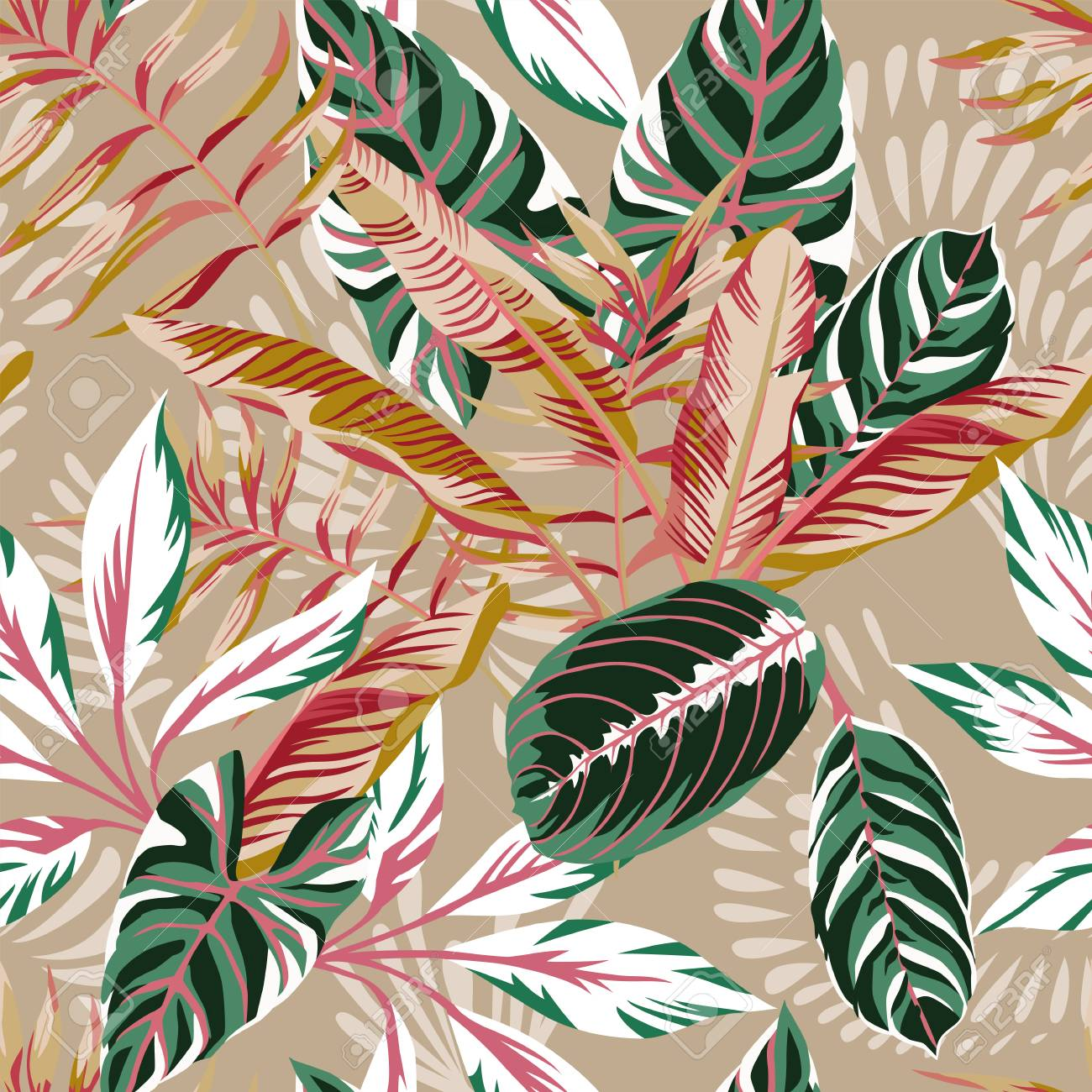 Tropical exotic leaves seamless beige background. Vector summer pattern autumn illustration - 103938042