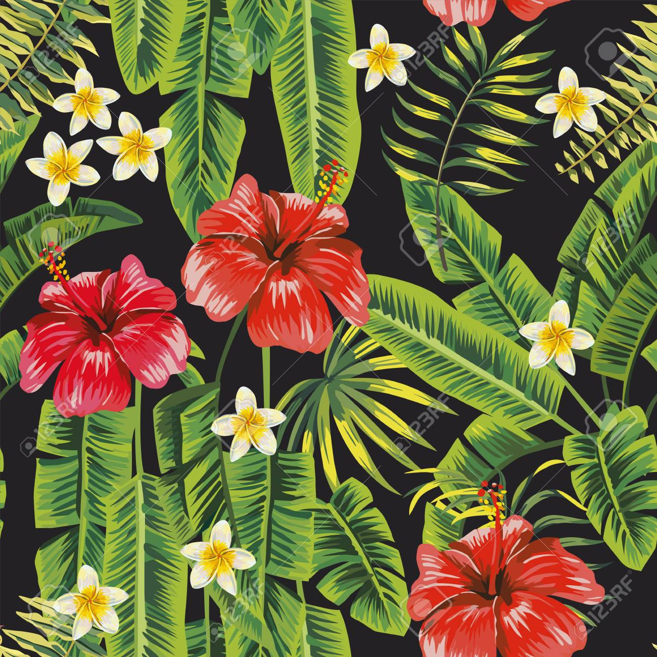 Banana green leaves and red hibiscus, white plumeria (frangipani) flowers seamless pattern black background. Vector botanical compoition - 122038696