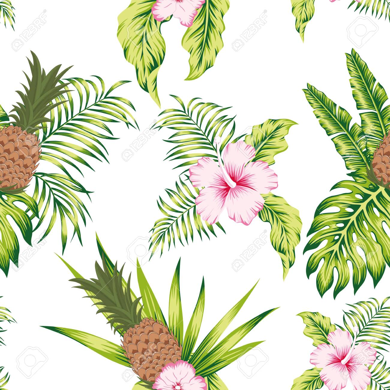 Trendy tropical botanical seamless vector pattern exotic trendy design hibiscus flowers, banana leaves and pineapple on the white background - 122038733