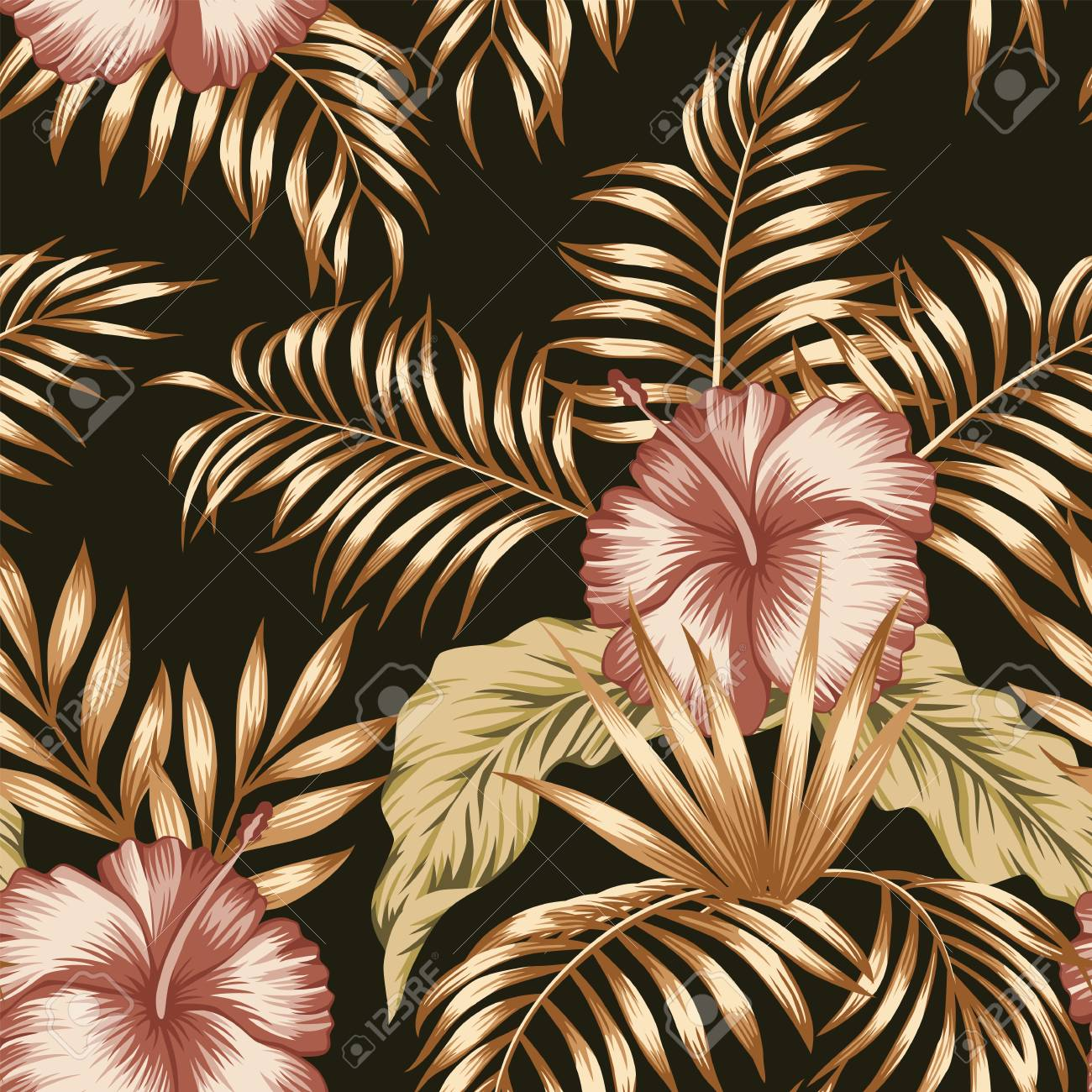 Exotic trendy seamless composition from tropical flowers hibiscus and palm, banana leaves gold tint on the black background - 122038798