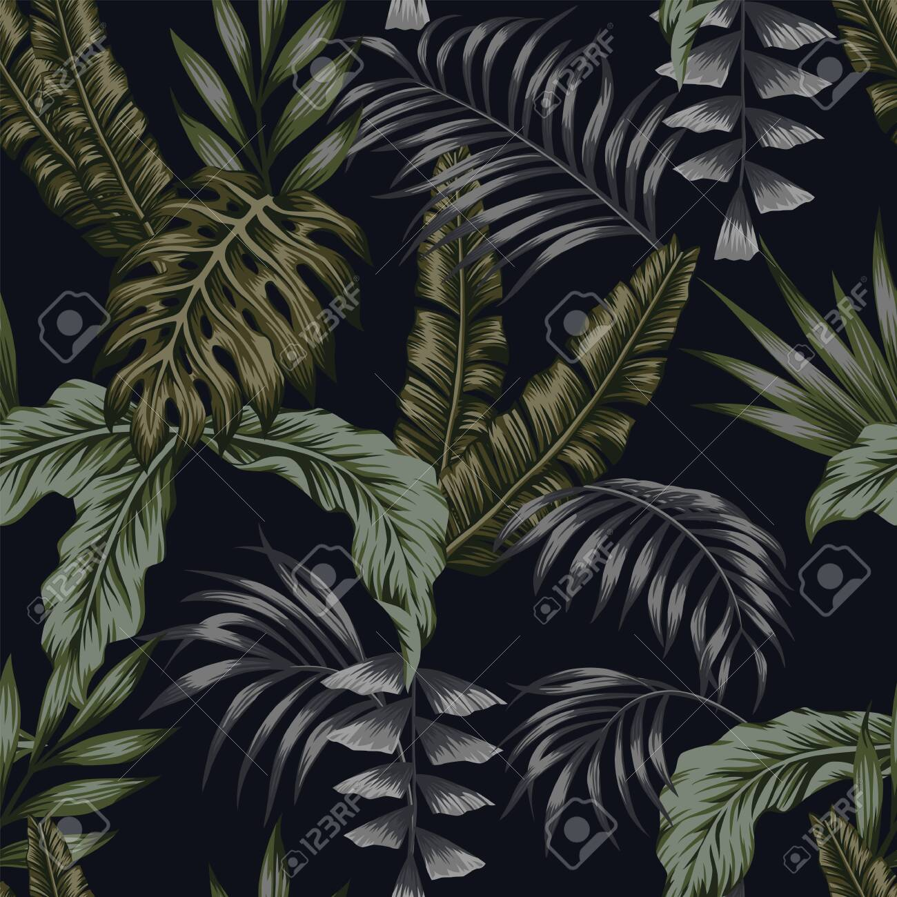 Exotic Tropical Green Palm Leaves Dark Night Jungle Background