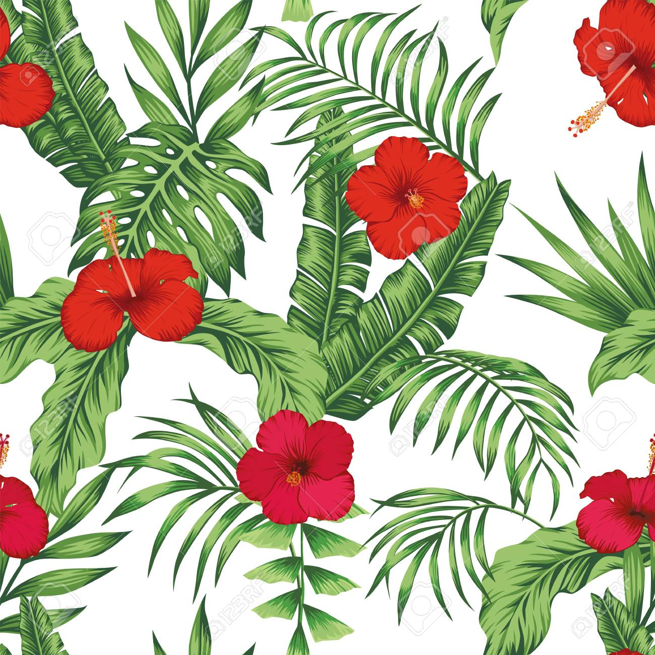 Exotic tropical flowers pink and red hibiscus, green monstera, palm leaves pattern seamless on the white background. Beach vector wallpaper - 125794444