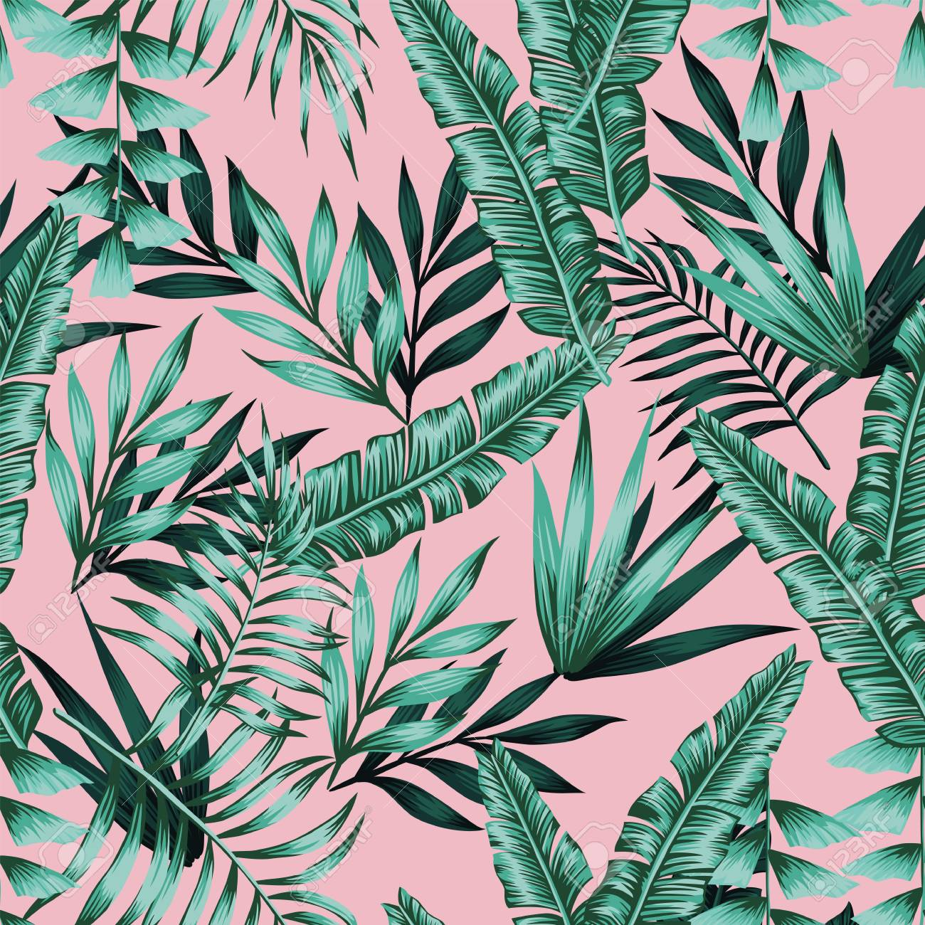 Tropical vector realistic green leaves seamless pattern pink background. Exotic trendy wallpaper - 122038881