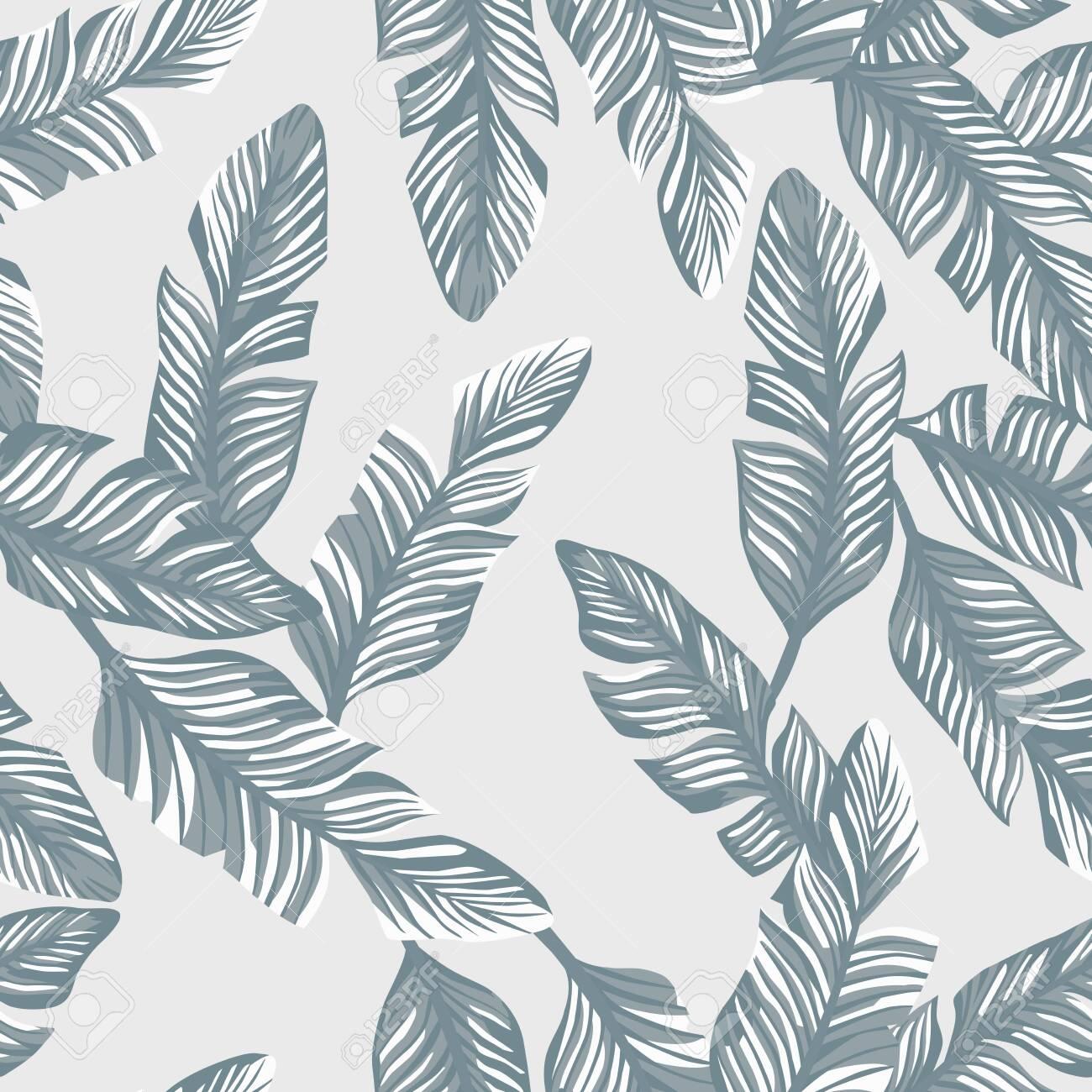 Tropical illustration realistic vector banana leaves seamless pattern gray style. Modern wallpaper - 124908096