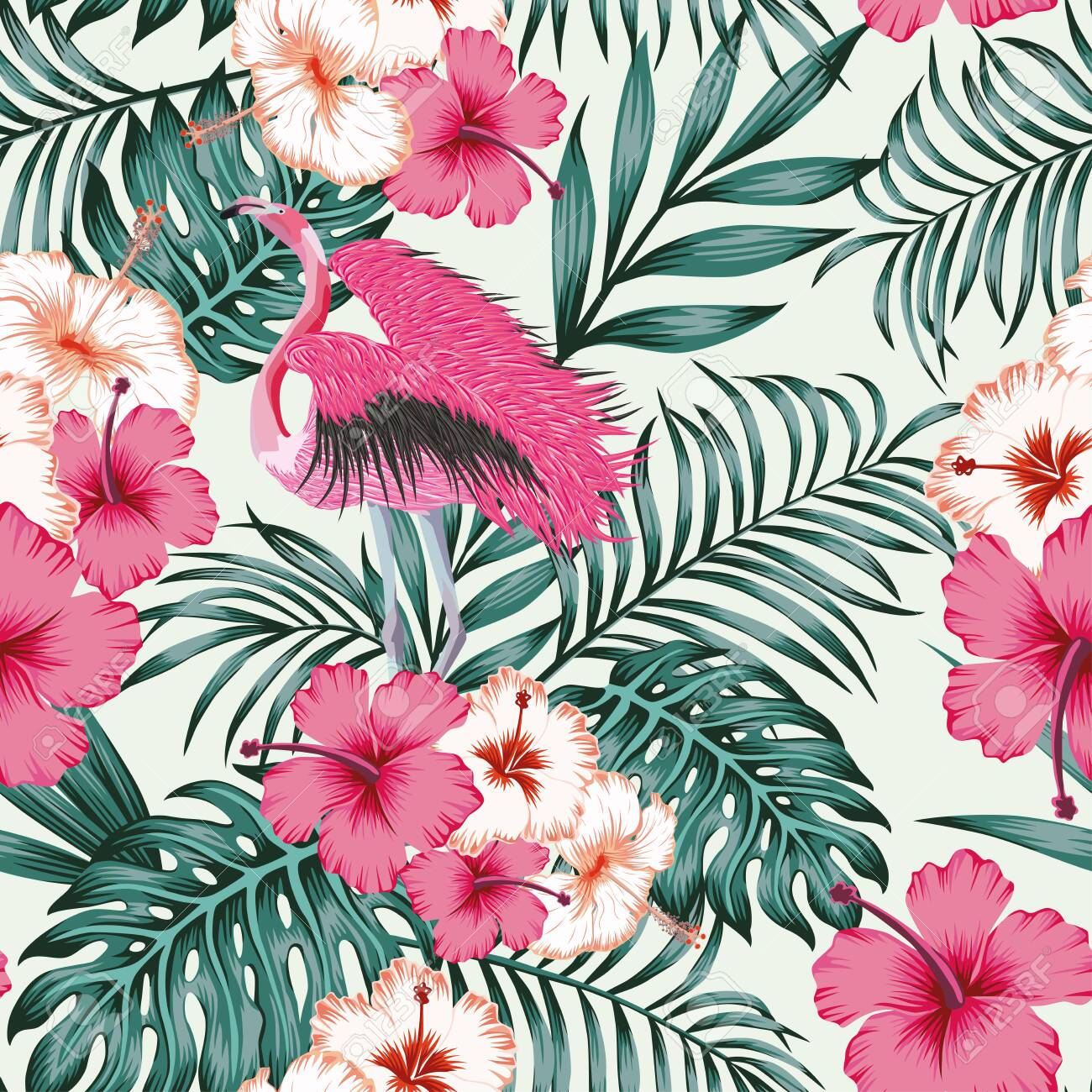 Exotic beautiful bird pink flamingo spread wings in jungle of hibiscus flowers and monstera, palm leaves. Seamless tropical pattern on white background. Beach design wallpaper. - 145276925