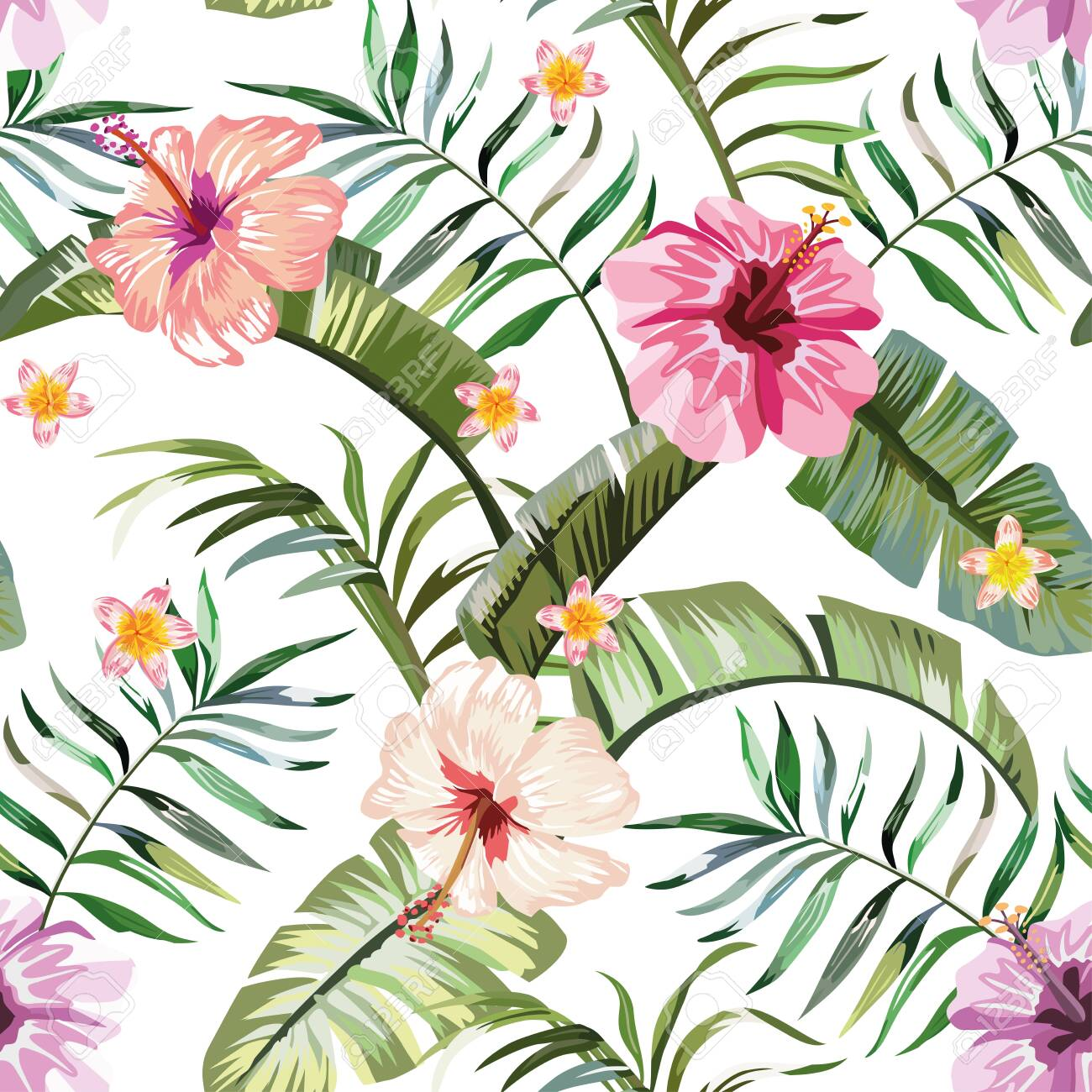Floral 10x15 FT Photo Backdrops,Exotic Hibiscus Petals in Warm Tones Beach Palm Tree Wild Dreamy Tropical Graphic Background for Child Baby Shower Photo Vinyl Studio Prop Photobooth Photoshoot
