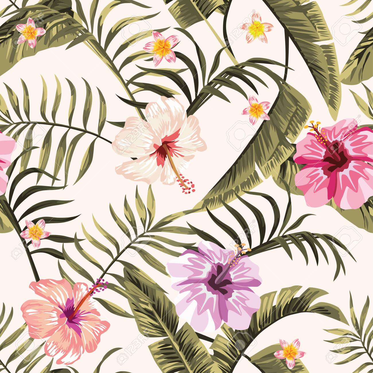 Exotic tropical palm, fern leaves, vivid hibiscus, plumeria flowers seamless pattern on the white background. Jungle vector floral wallpaper. - 147428188