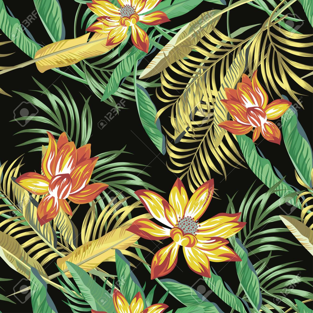 Beautiful fiery color exotic tropical flowers lotus, lily and green, golden color palm, banana, fern leaves seamless vector pattern on black background. Beach summer trendy illustration. - 149549324