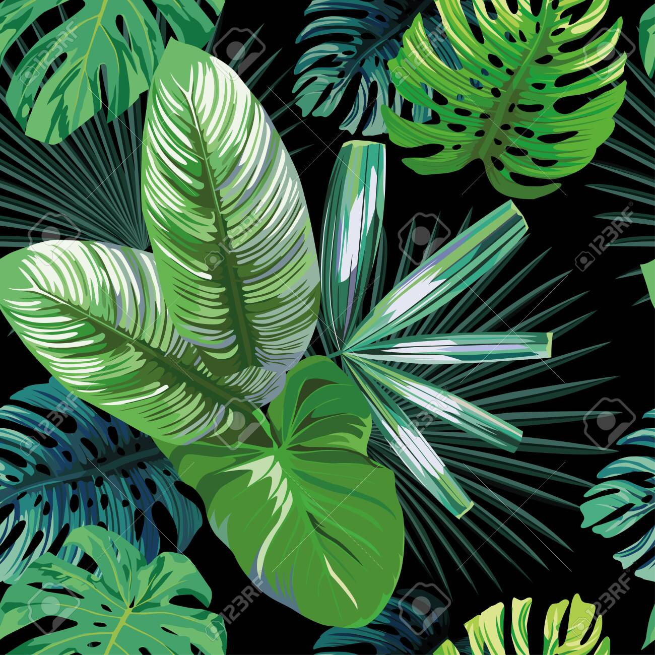 Seamless exotic pattern with tropical palm, banana, monstera leaves on a black background green vector style. Hawaiian tropical natural floral wallpaper - 152243128
