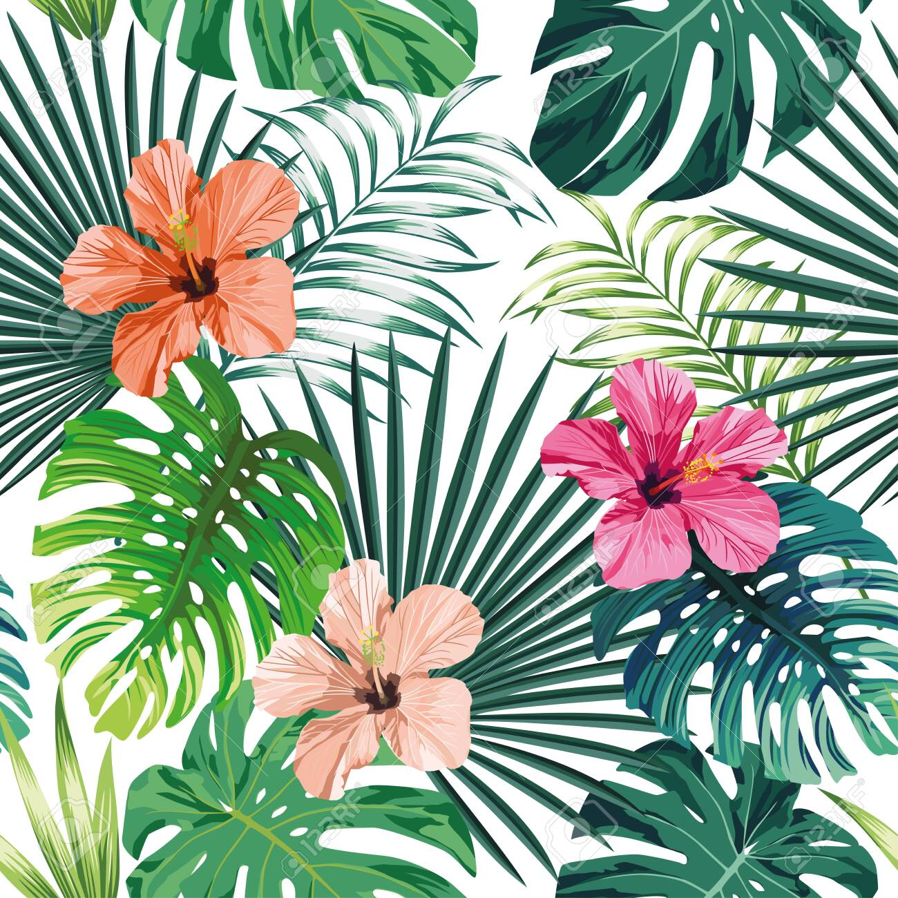 Seamless exotic pattern with tropical palm, banana, monstera leaves and rose, beige and pink hibiscus flower on a white background green vector style. Hawaiian tropical natural floral wallpaper - 152243126
