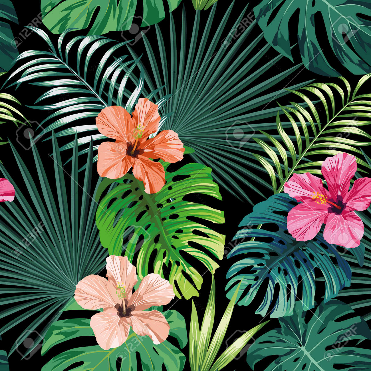 Seamless exotic pattern with tropical palm, banana, monstera leaves and rose, beige and pink hibiscus flower on a black background green vector style. Hawaiian tropical natural floral wallpaper - 152243130