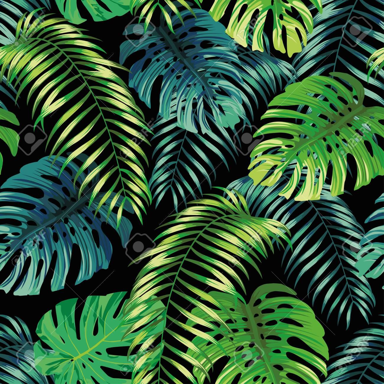 Botanical green seamless pattern leaves Fern and Monstera on black background. Exotic wallpaper design - 155805784