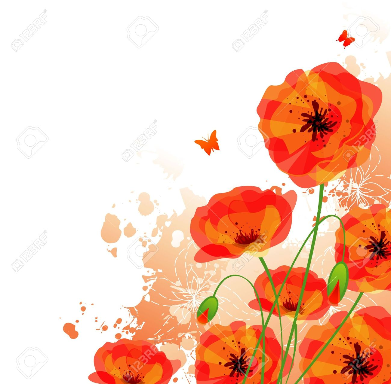 Red poppies back Stock Vector - 14867575