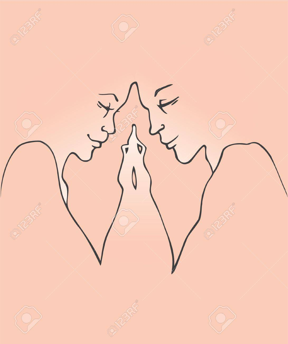 Vector illustration of Kissing couple Stock Vector - 15225390