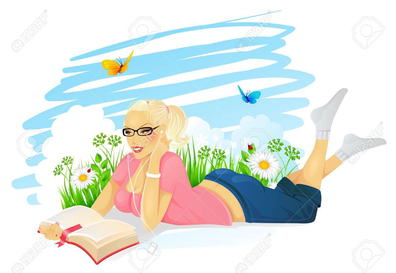 Vector illustration of Reading woman Stock Vector - 15163840