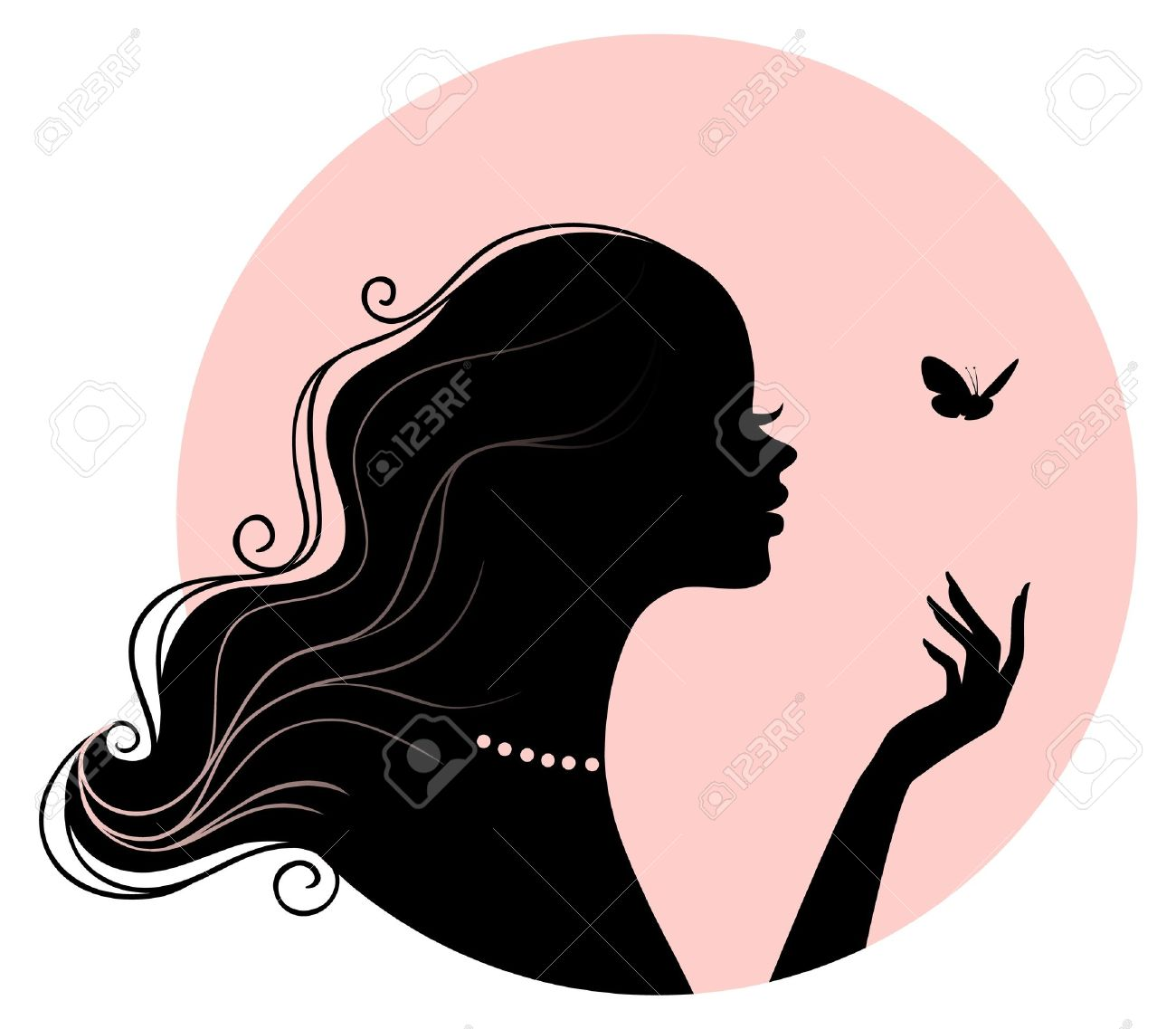 Vector illustration of Beauty woman with butterfly Stock Vector - 15163852