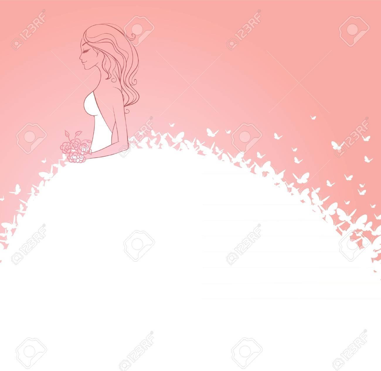 Ilustración Vectorial De Novia En Vestido Blanco Ilustraciones ...