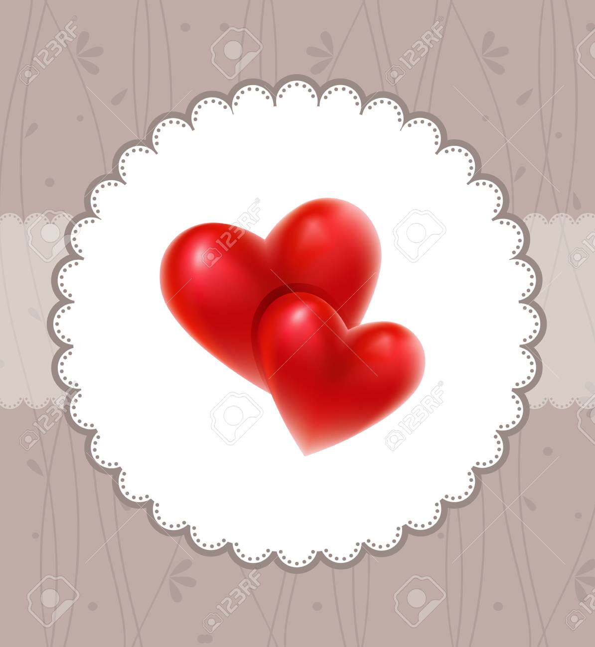 Valentine`s card with red hearts Stock Vector - 15507250