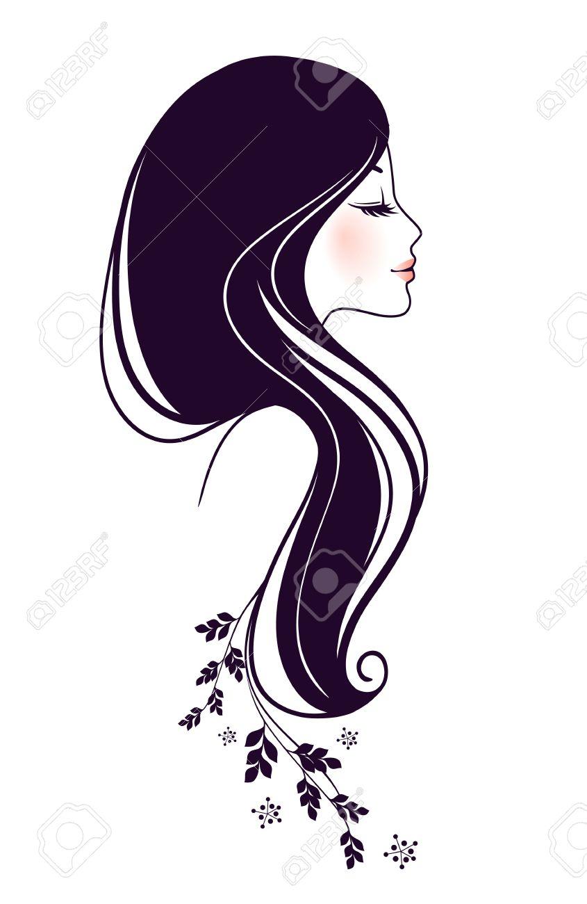 花を持つ美しい女性のイラストのイラスト素材ベクタ Image 15889890