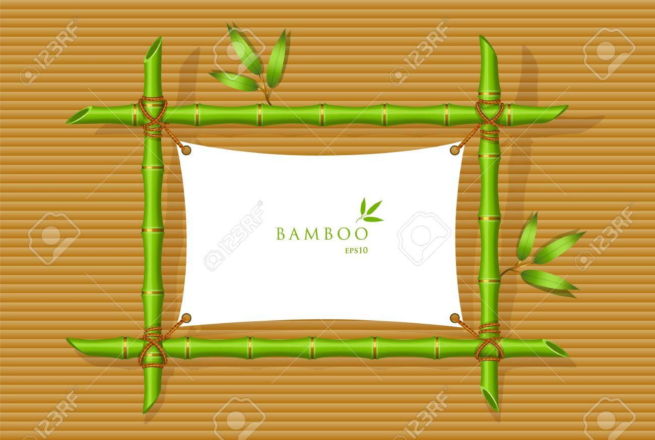 Vektor-Illustration Der Hintergrund Mit Grünen Bambus-Rahmen ...
