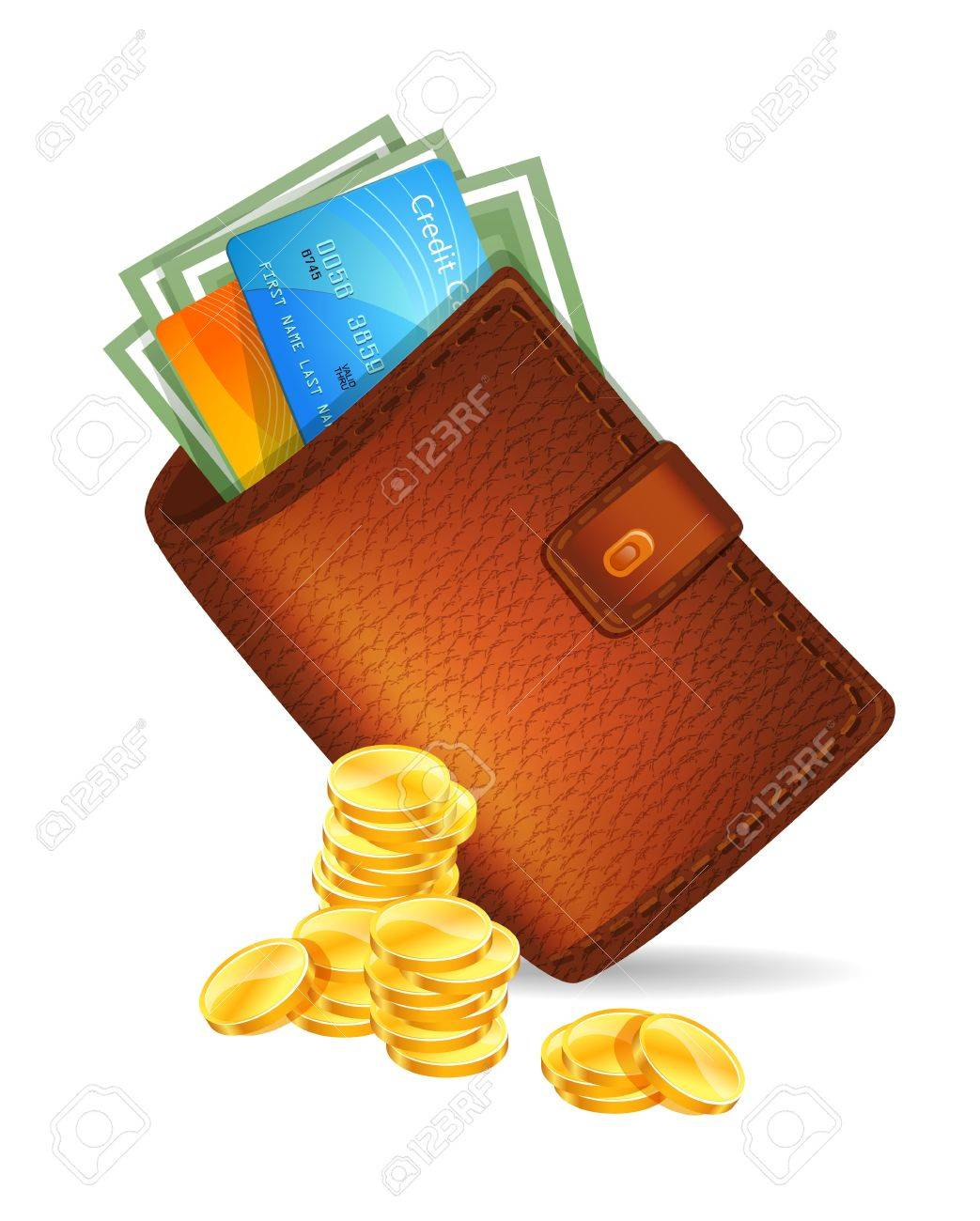 illustration of Wallet with banknotes Stock Vector - 16439743