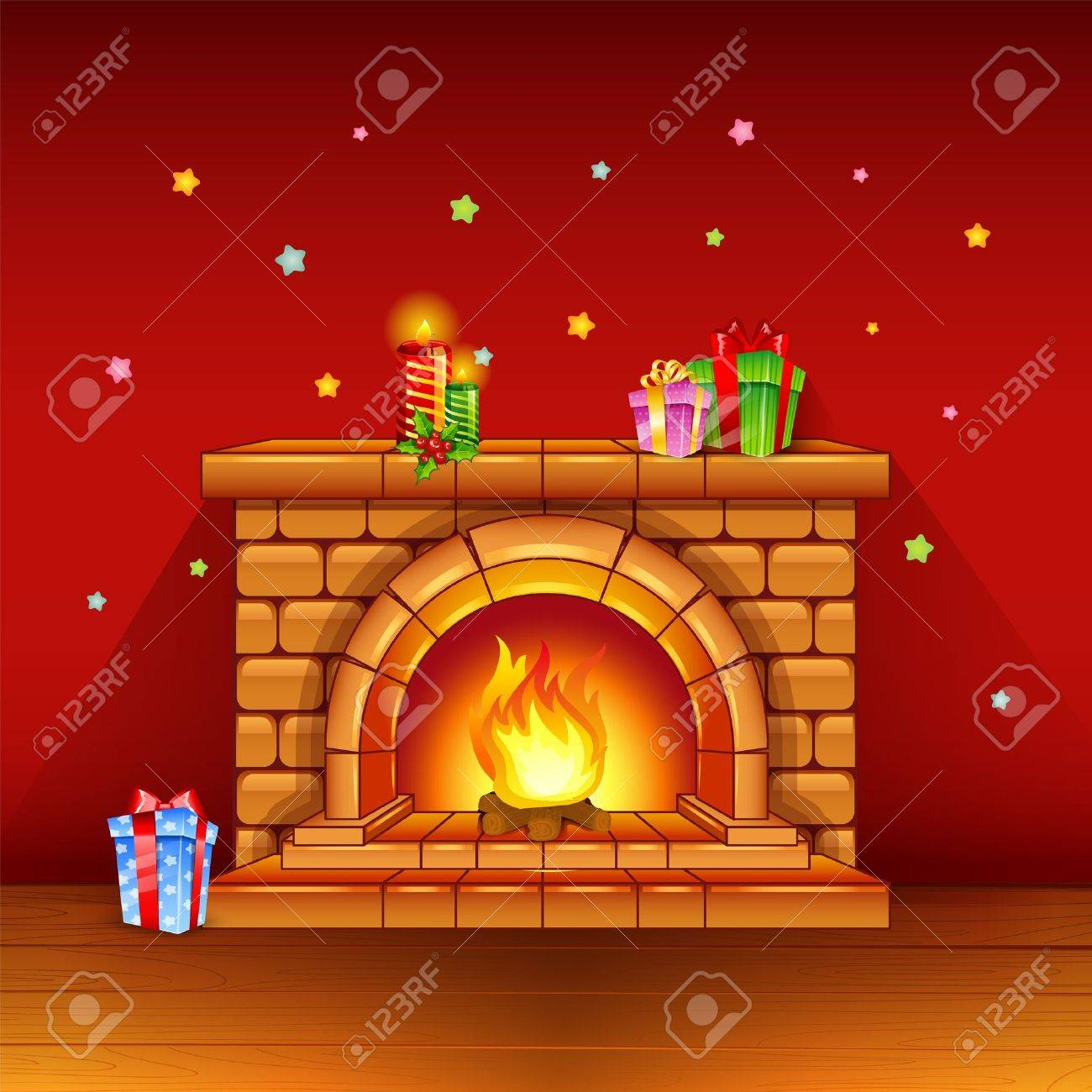 fireplace with candles and gifts on red background royalty free