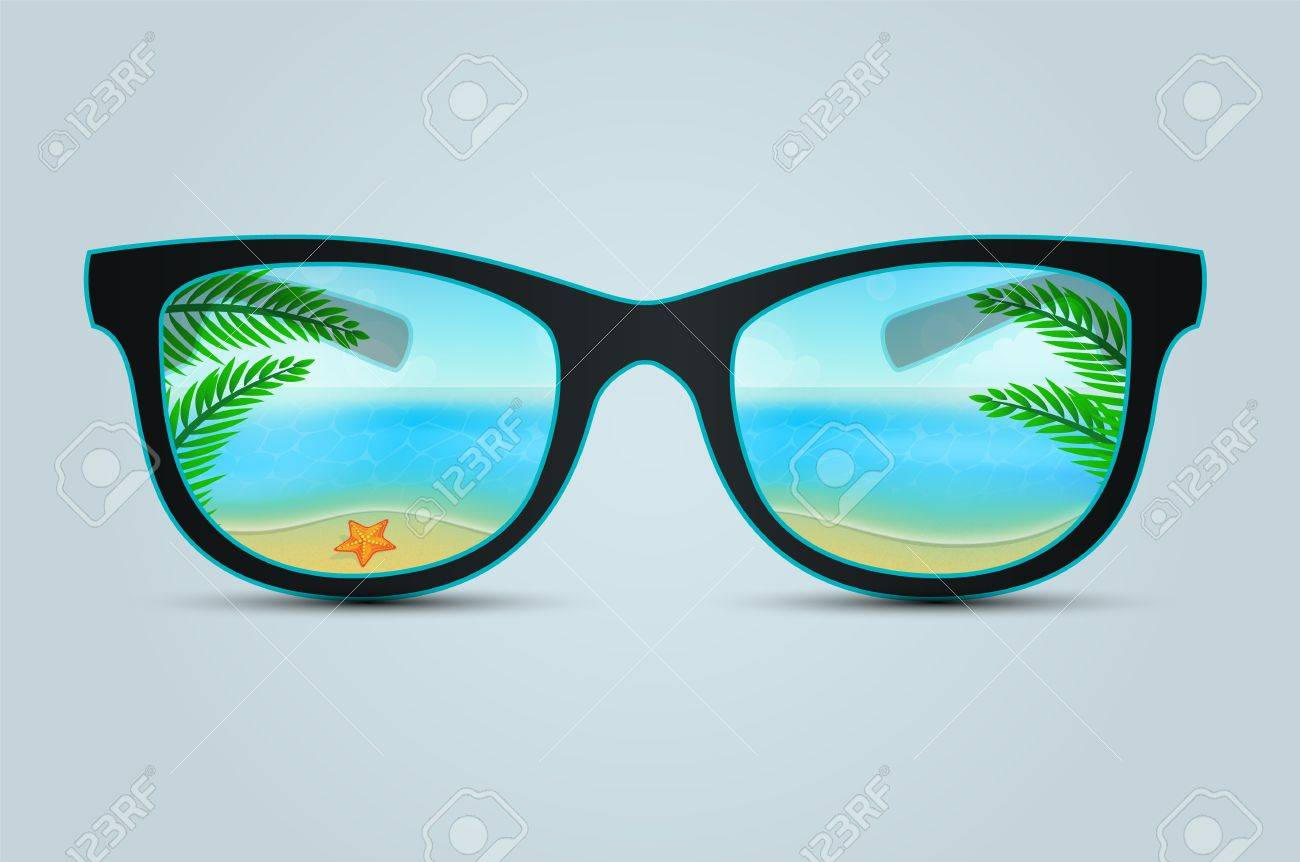 Vector illustration of Summer sunglasses with beach reflection Stock Vector - 21873830