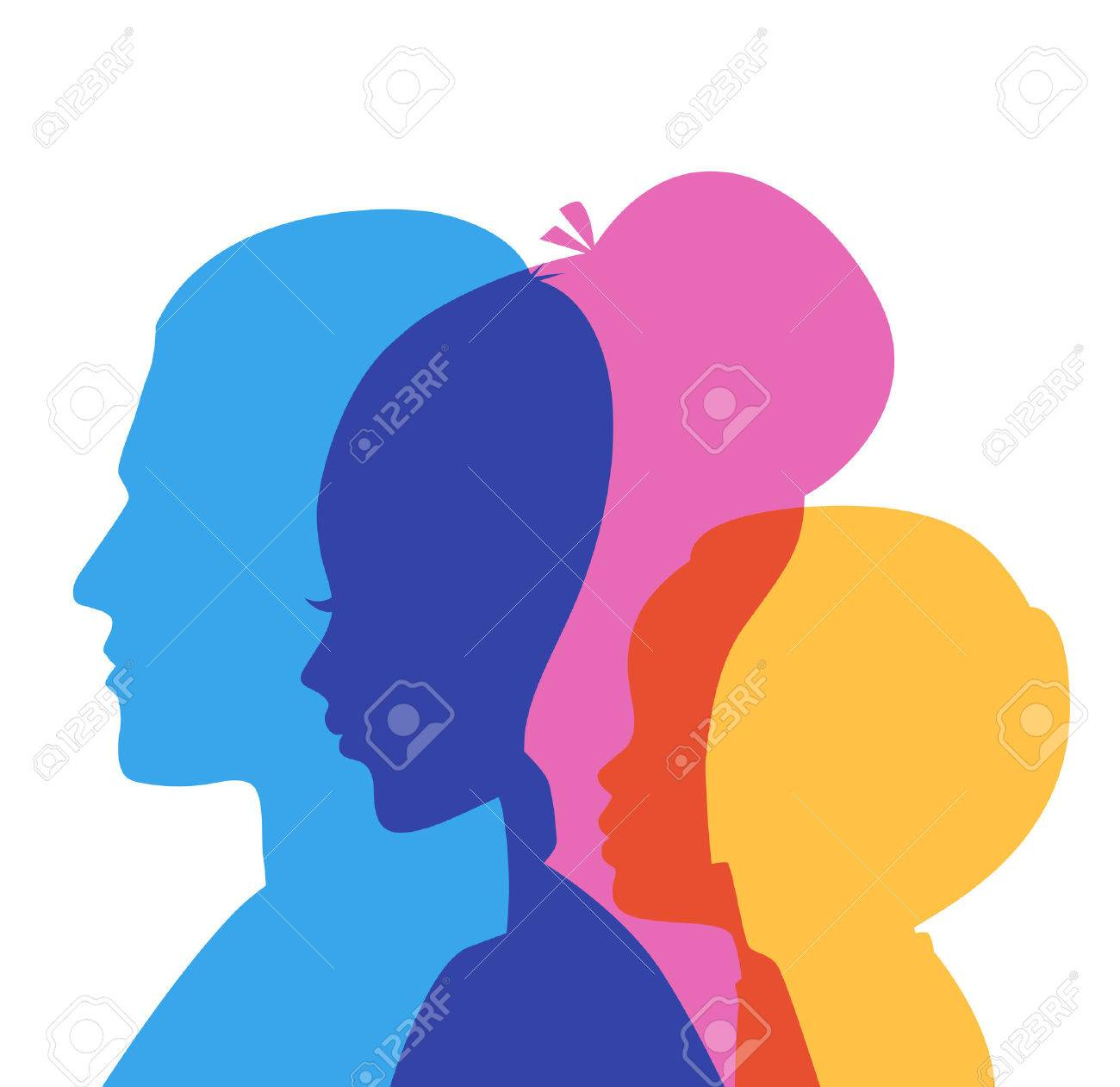 Vector illustration of Family icons head - 23262679