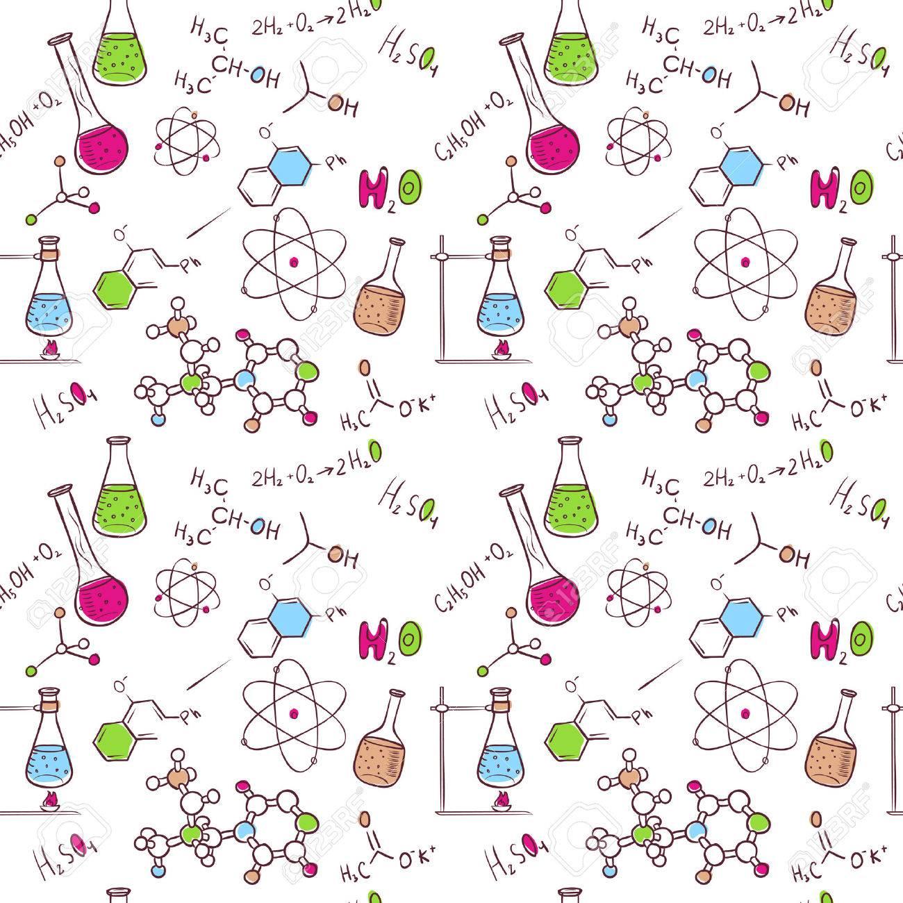 Vector illustration of Hand draw chemistry pattern - 26605894