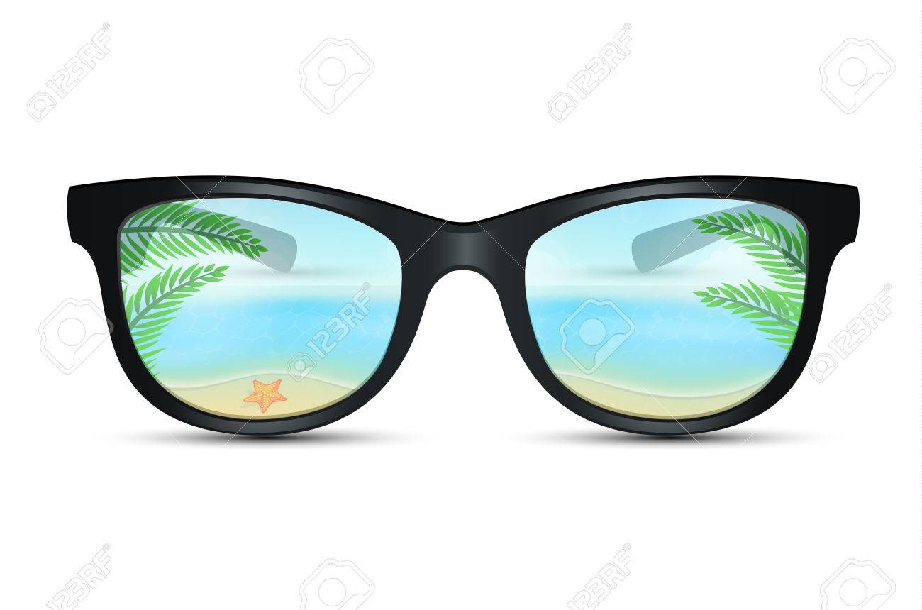 Vector illustration of Summer sunglasses with beach reflection - 26730335