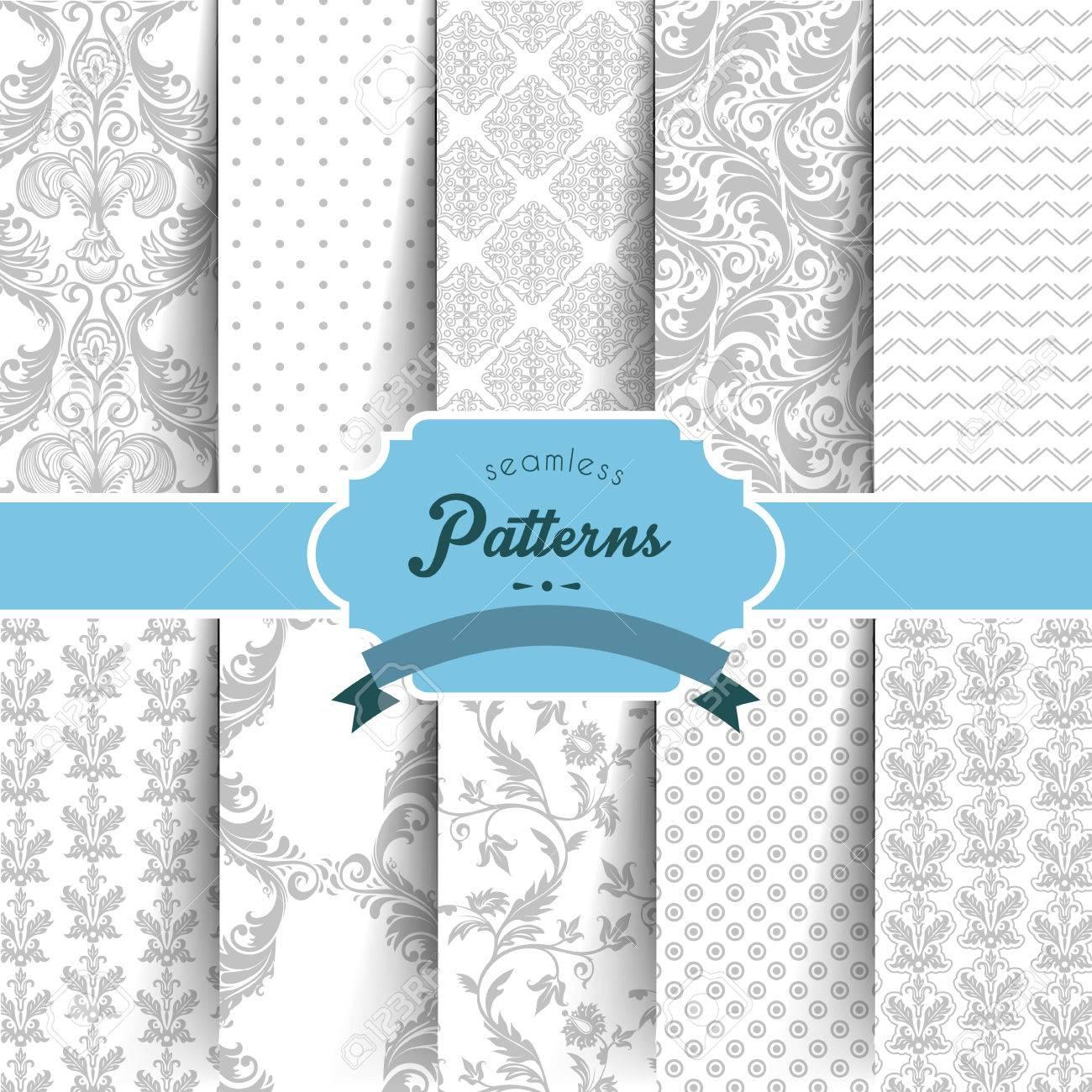 Vector illustration of Seamless patterns set - 27853417