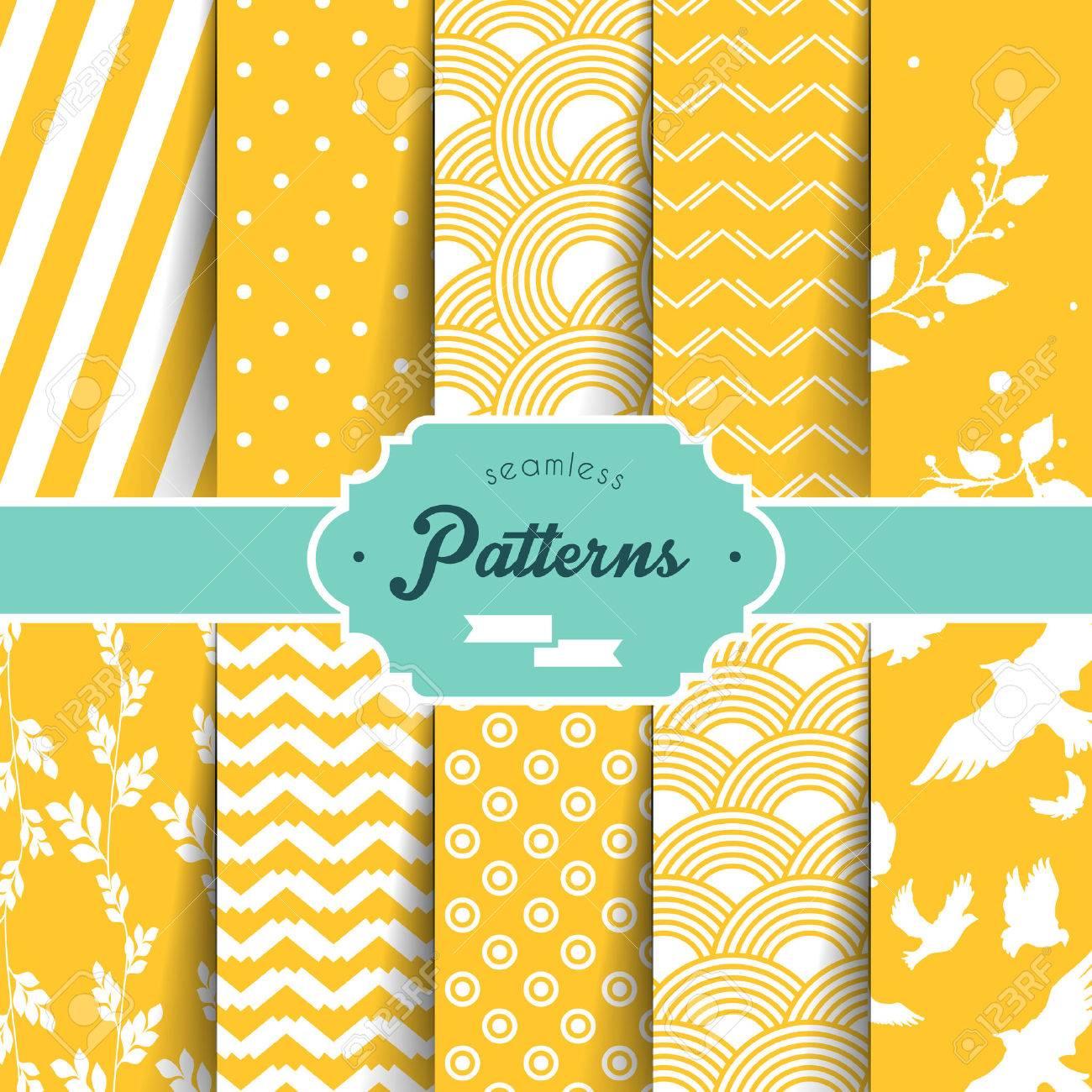 Vector illustration (eps 10) of Seamless patterns set - 27853422