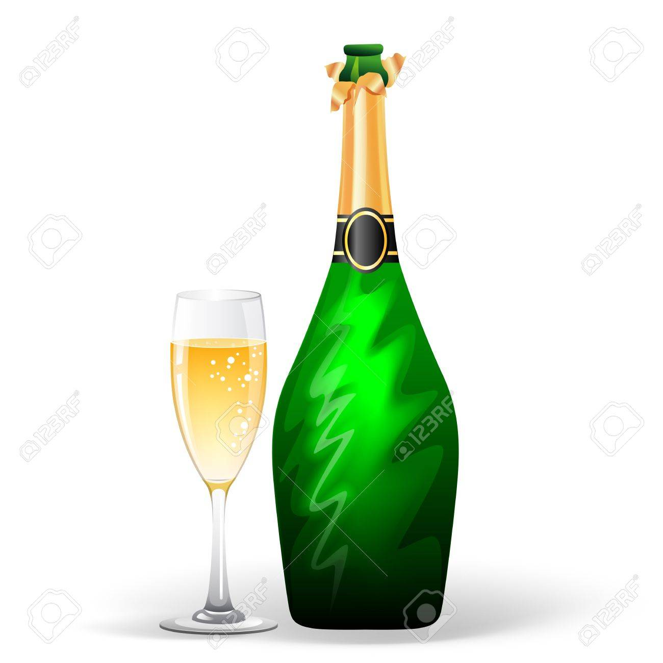 vector illustration eps 10 of champagne bottle and glass royalty