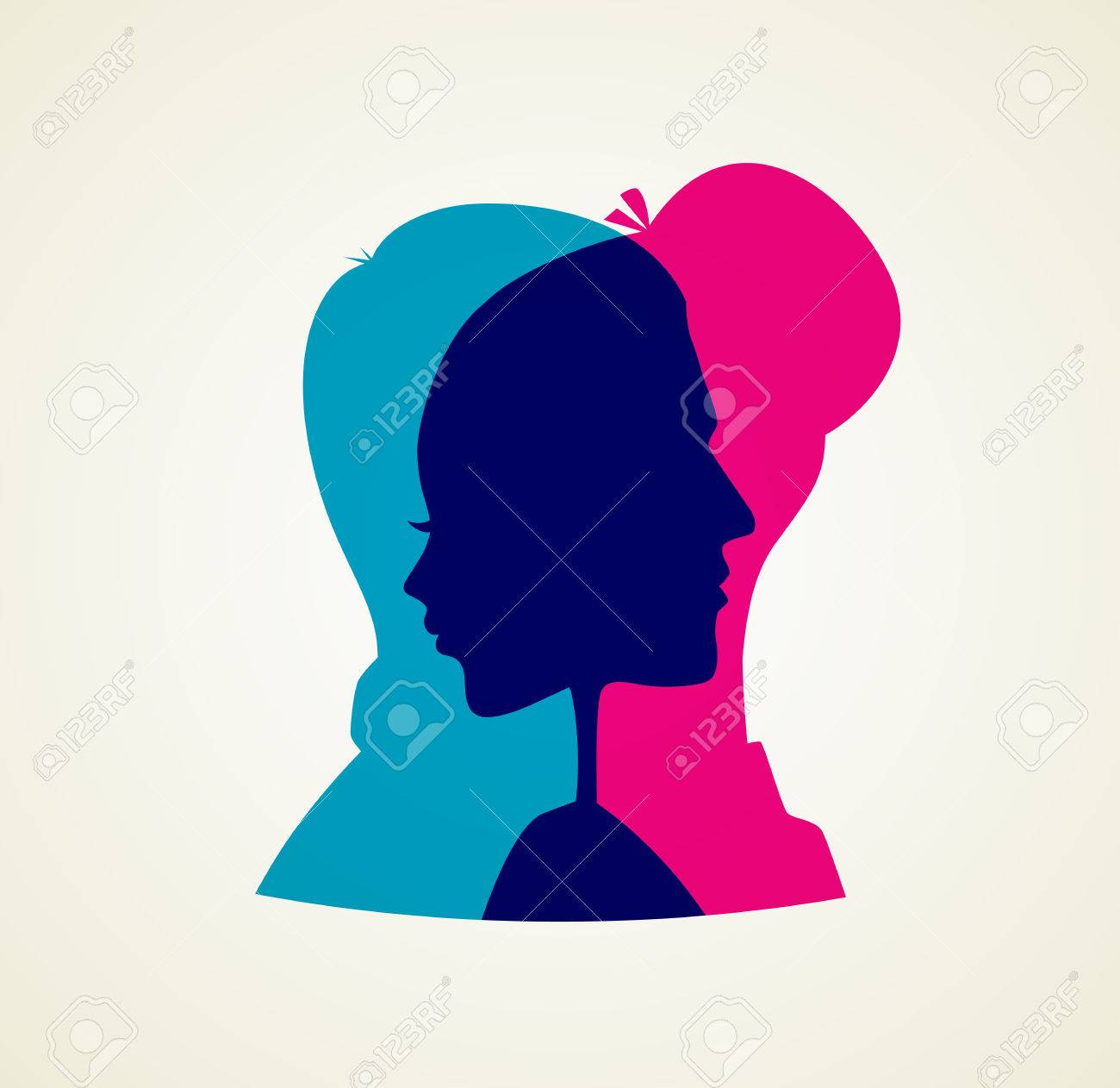 Vector illustration of Couple's silhouette - 32622565
