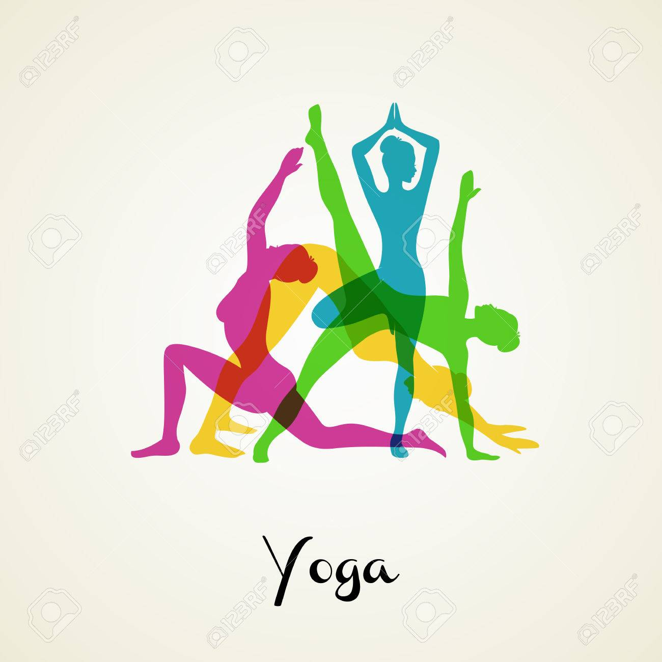 Vector illustration of Yoga poses silhouette set - 32814896