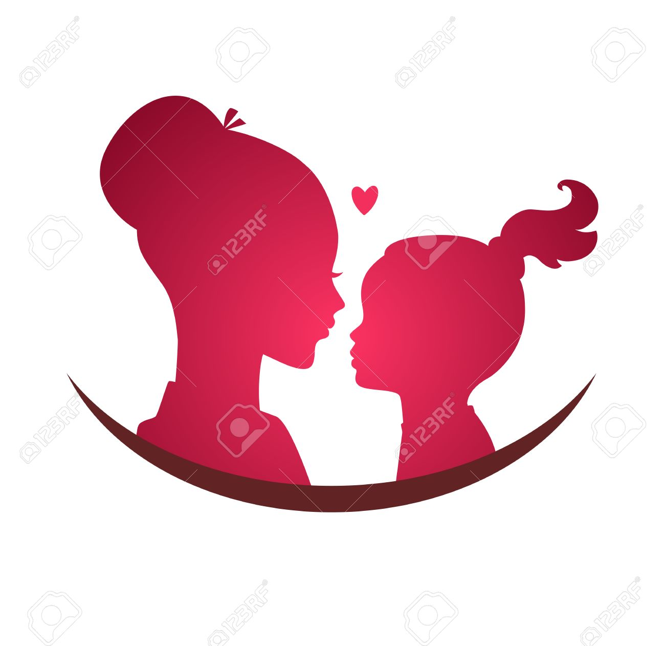 Vector illustration of Mom and daughter love - 33673893