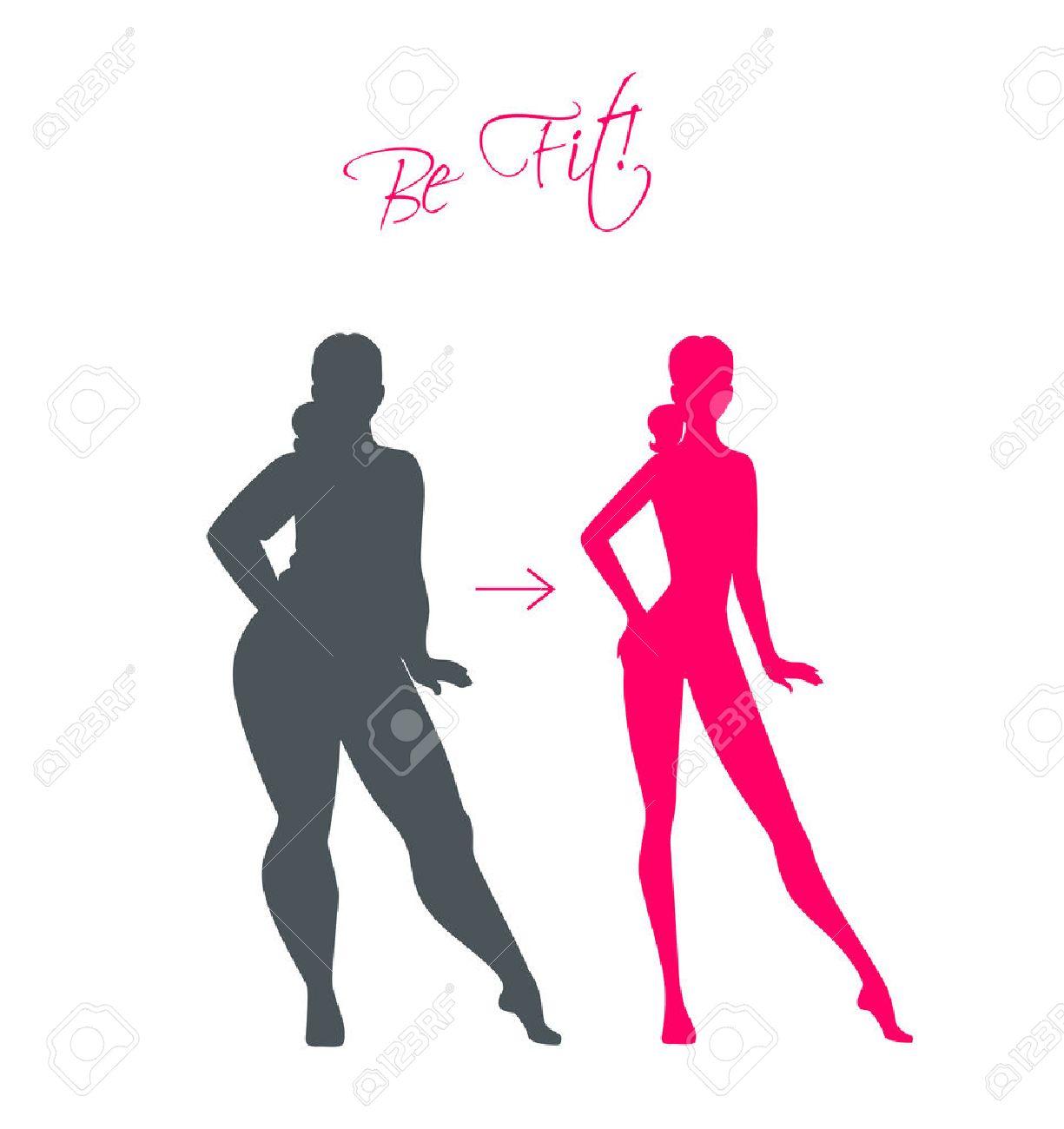 Vector illustration of Slim and fat girls - 33675004