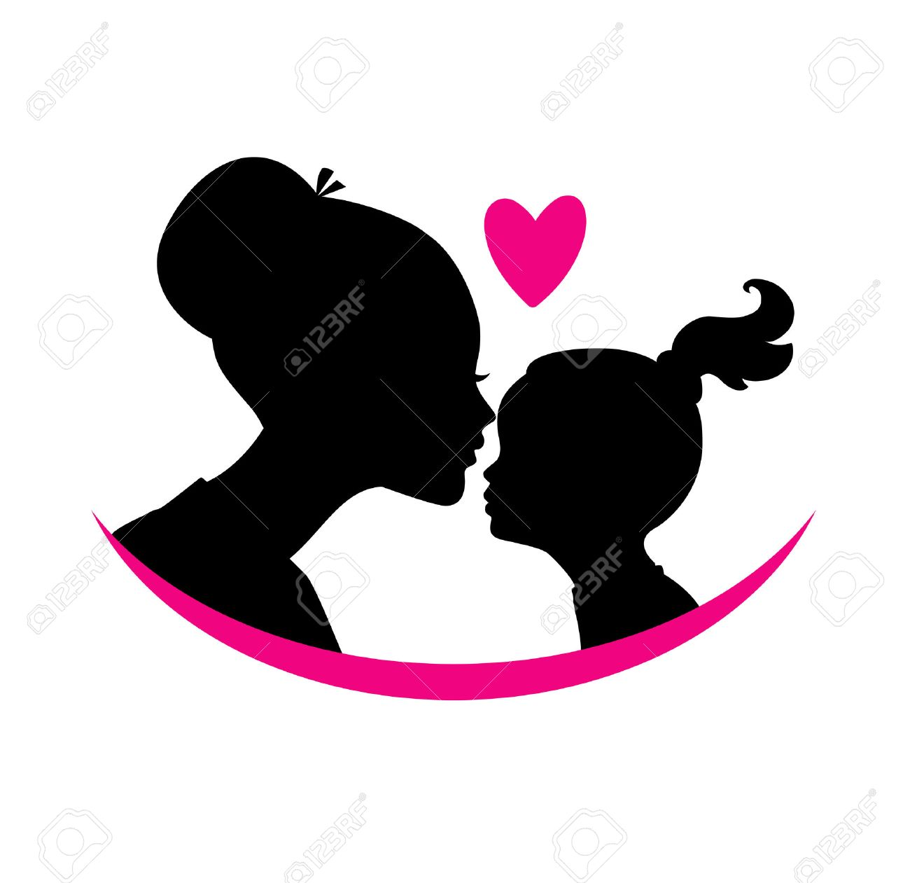 Vector illustration of Mom and daughter love - 34141876