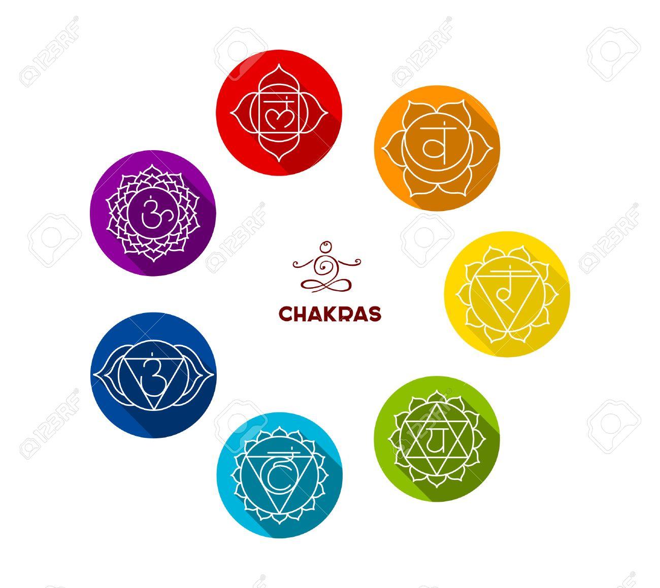 Vector illustration of Chakra color flat set - 34375288