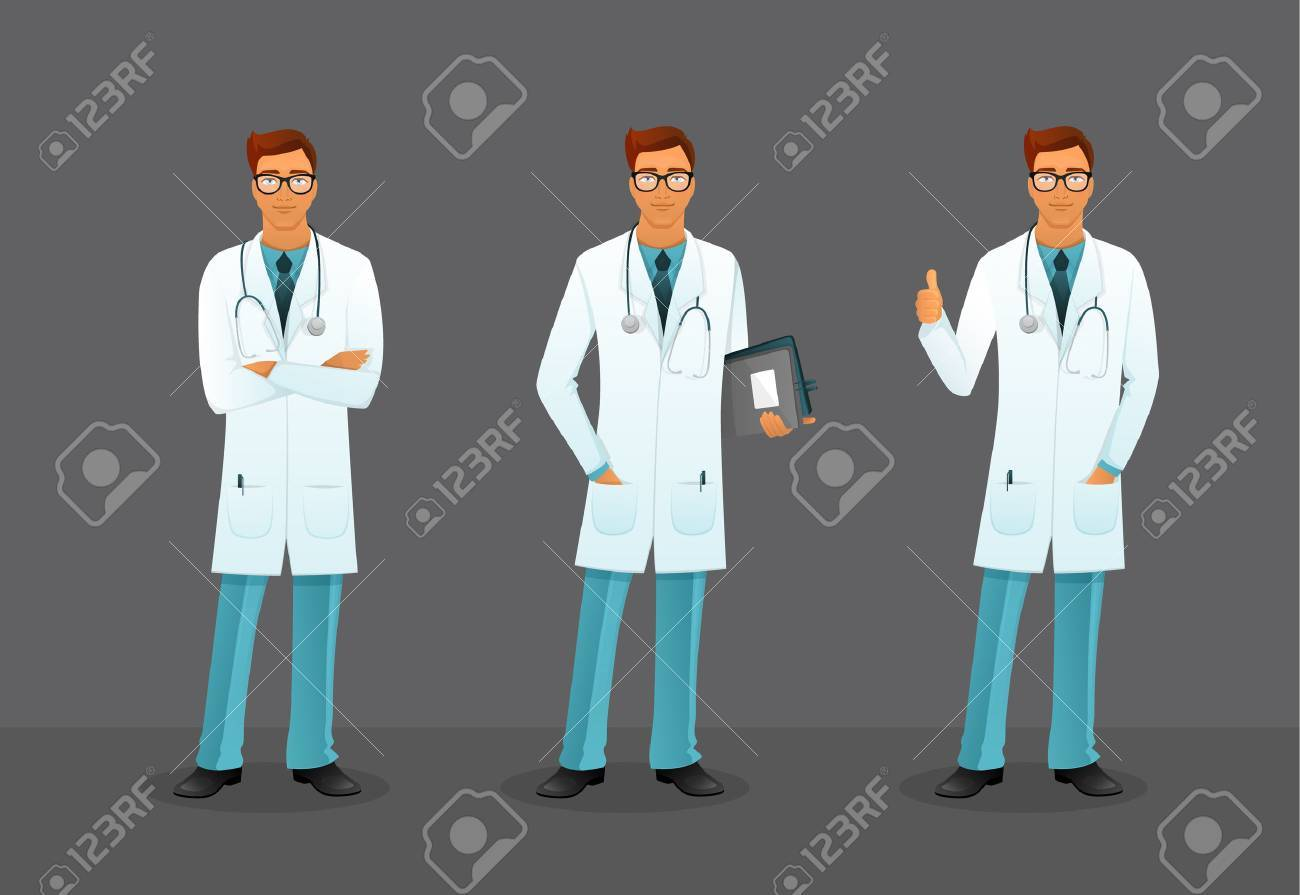 Vector illustration of Doctor in various poses - 34571660