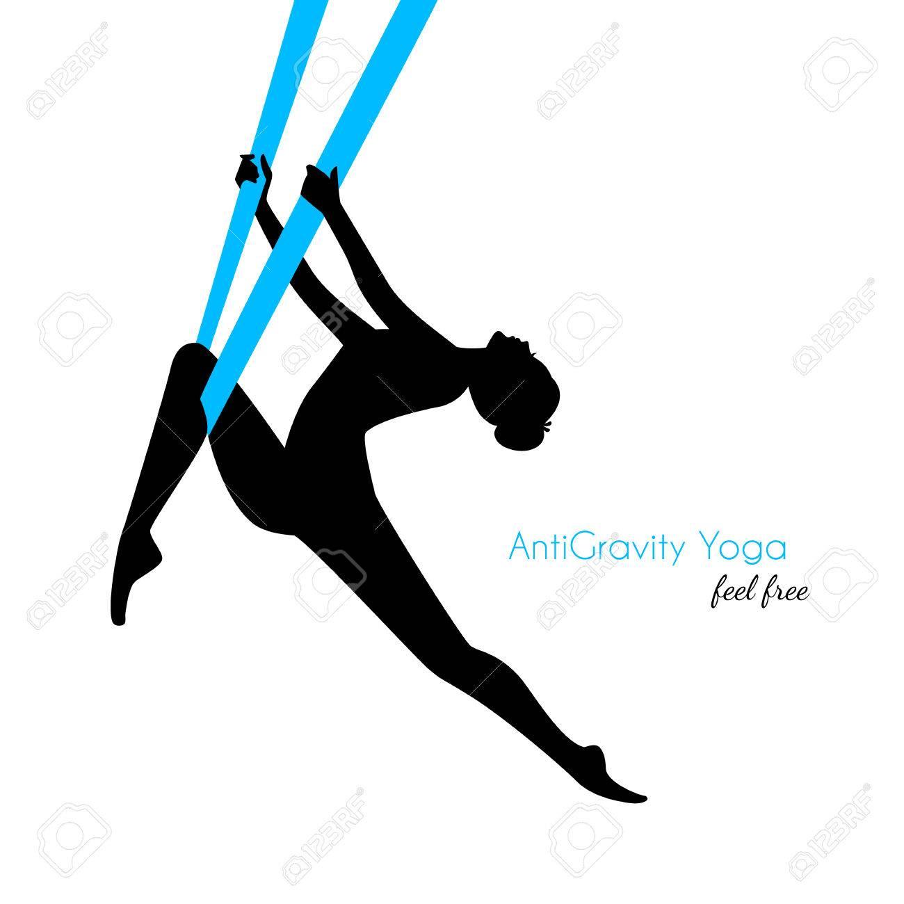 Vector illustration of Anti-gravity yoga poses woman silhouette - 35850765
