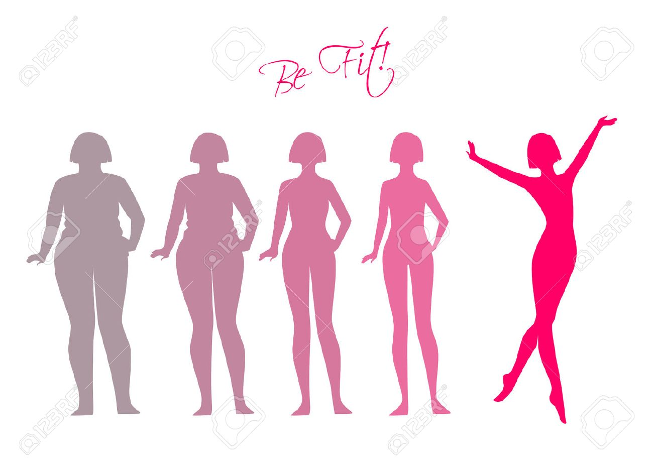 Vector illustration of Be fit, woman silhouette images - 36657265