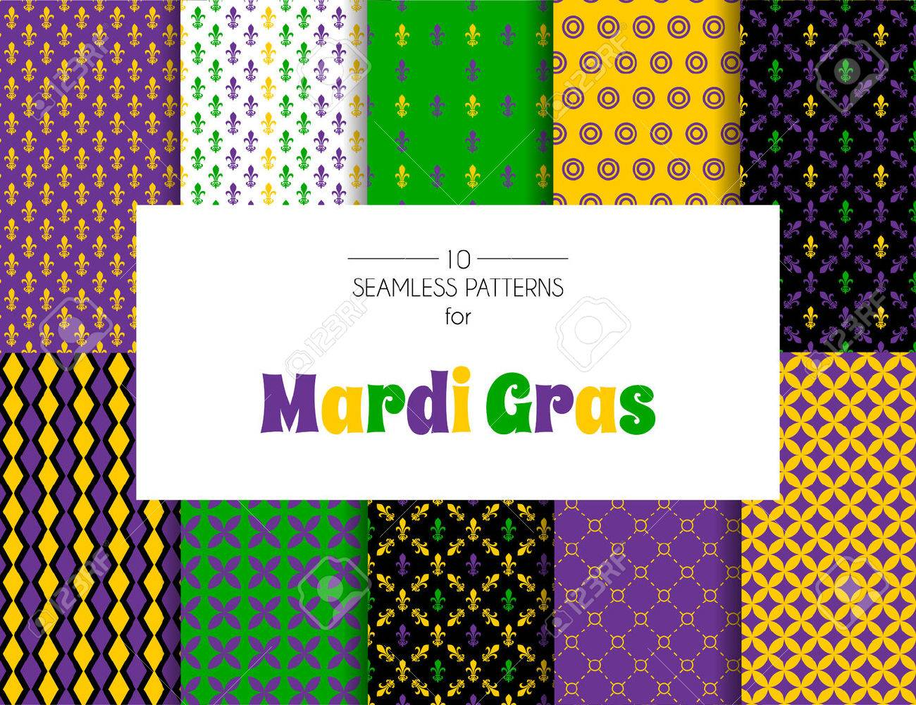 Vector illustration of Mardi Gras pattern backgrounds - 36657318