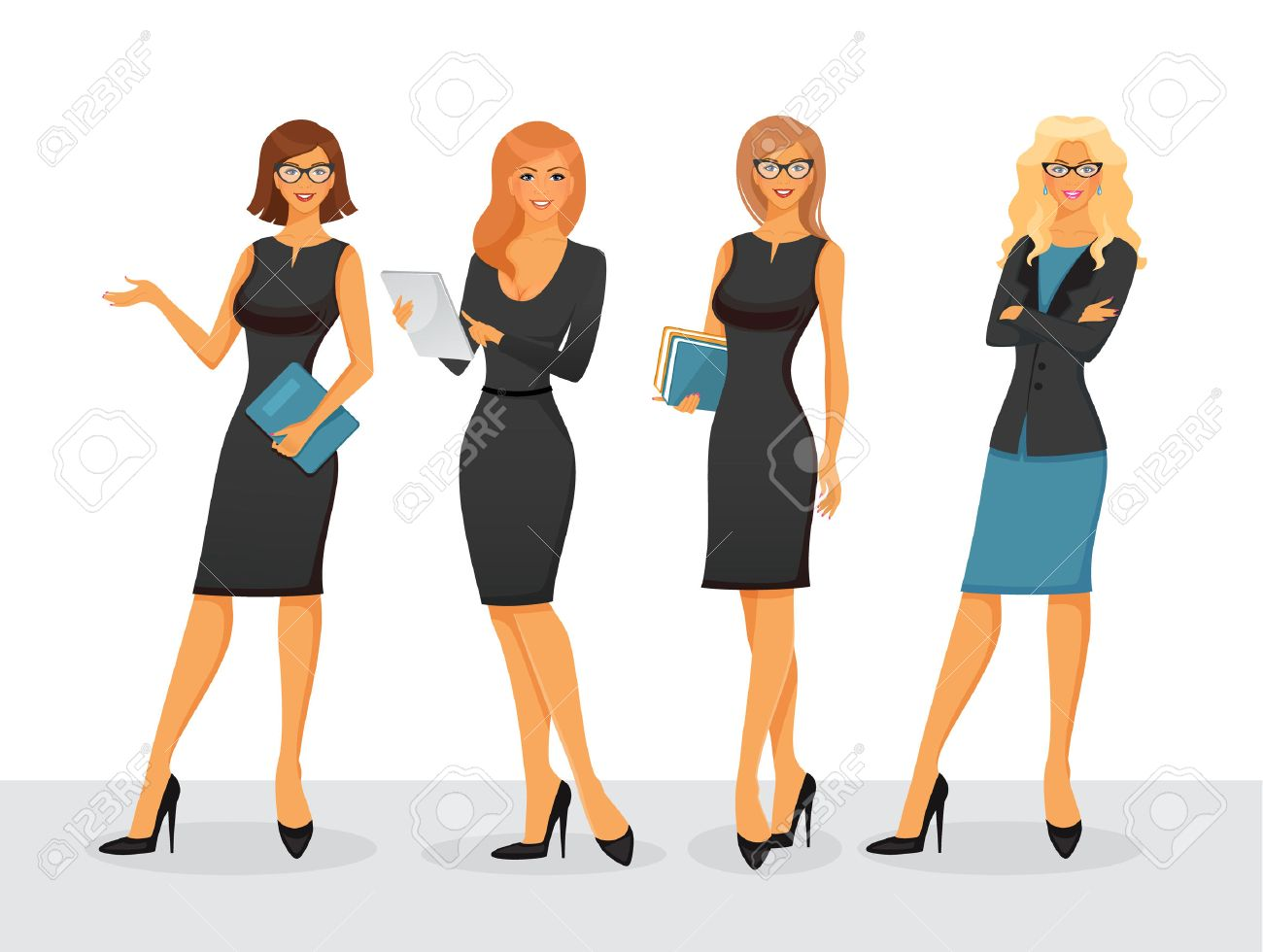Vector illustration of Businesswoman in various poses - 43890009