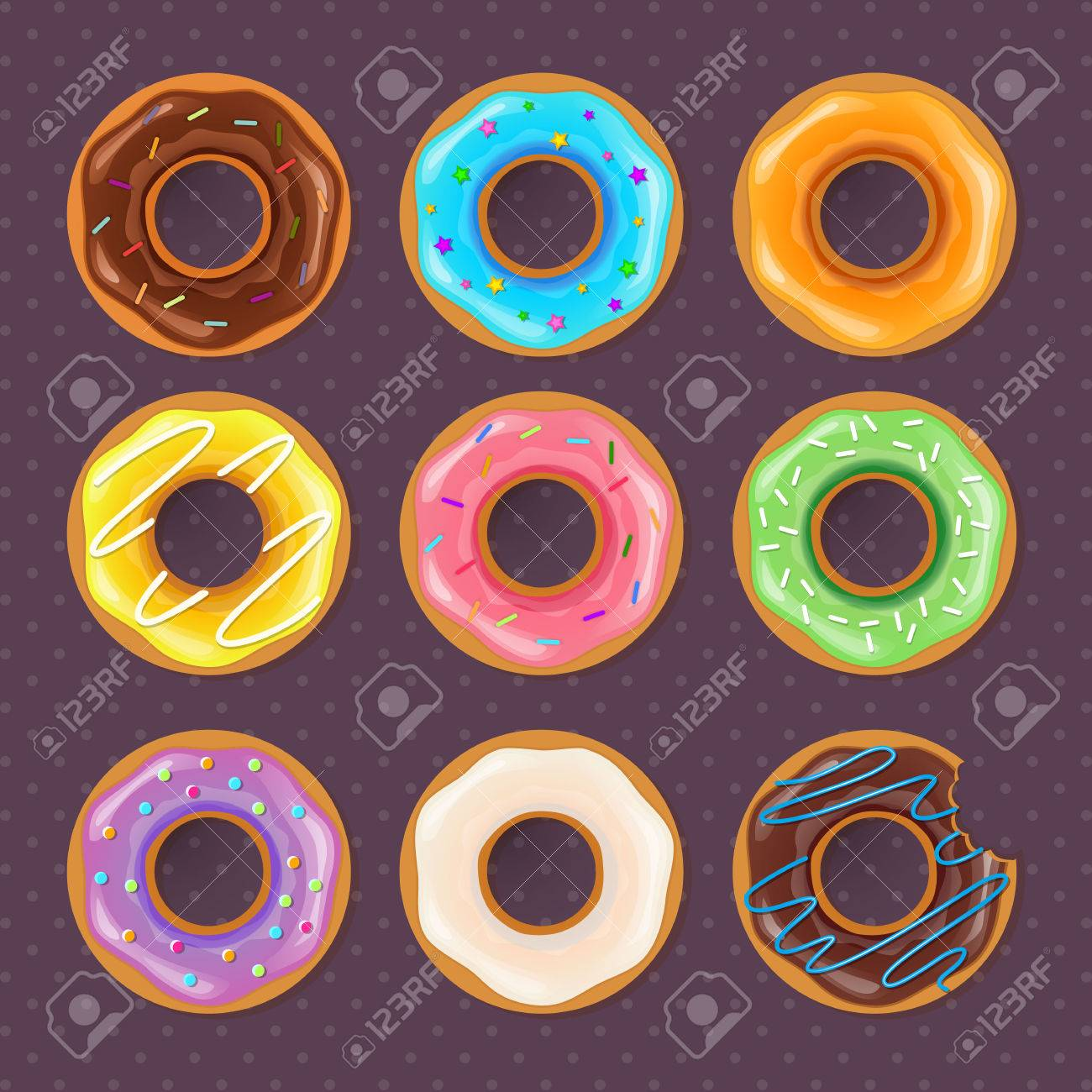 Vector illustration of Colorful donuts sweet set - 44081423